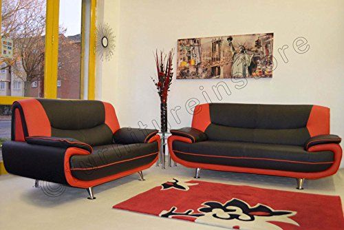 3+2 Seater Passero Black and Red Faux Leather Sofa Suite Settee Couch---399.99---