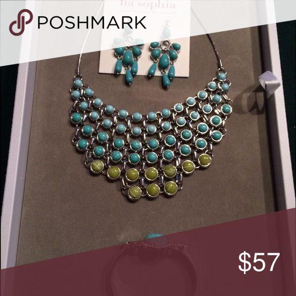 Lia Sophia Jewlery Lia Sophia statement necklace, earrings and bracelet. Lia Sophia Jewelry Necklaces