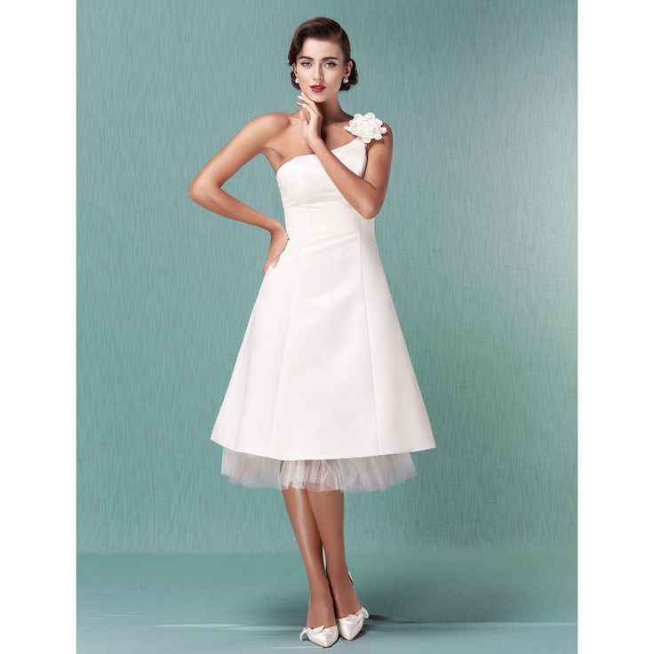 Sheath/Column Scoop Knee-Length Charmeuse Wedding Dress
