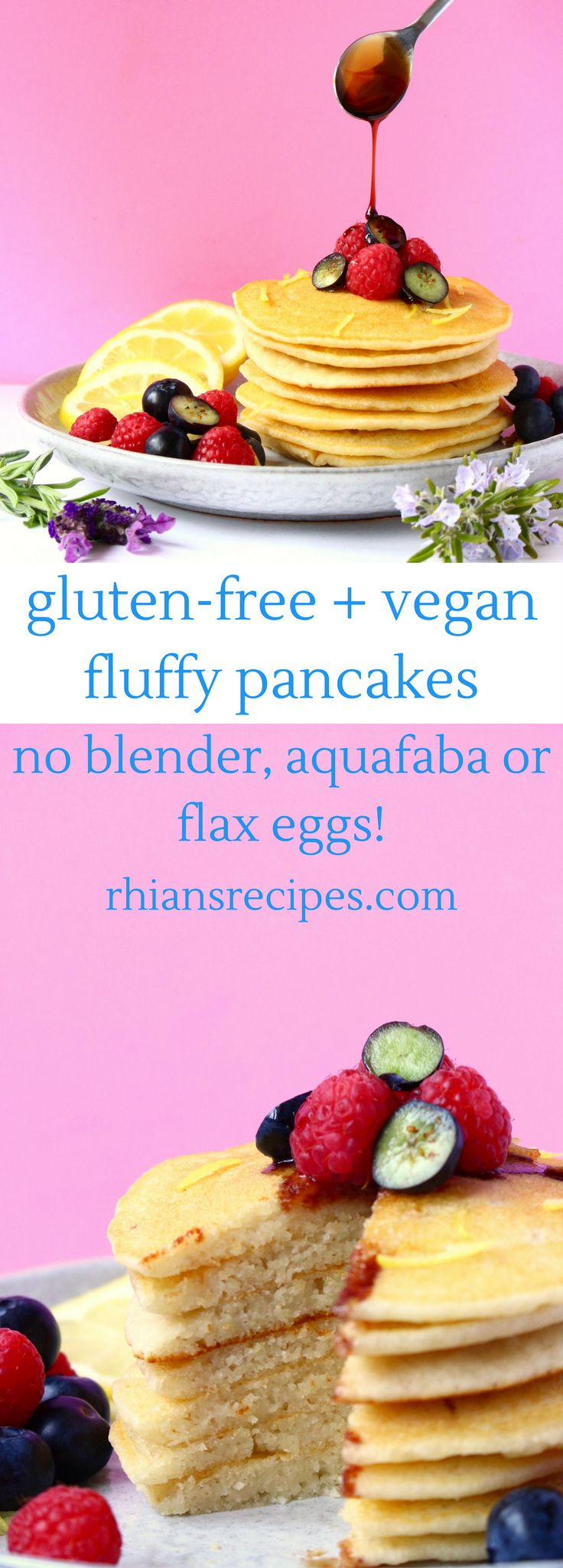 Gluten-free + vegan + refined sugar free Fluffy Pancakes! Super easy to make - no blender, aquafaba or flax eggs required!