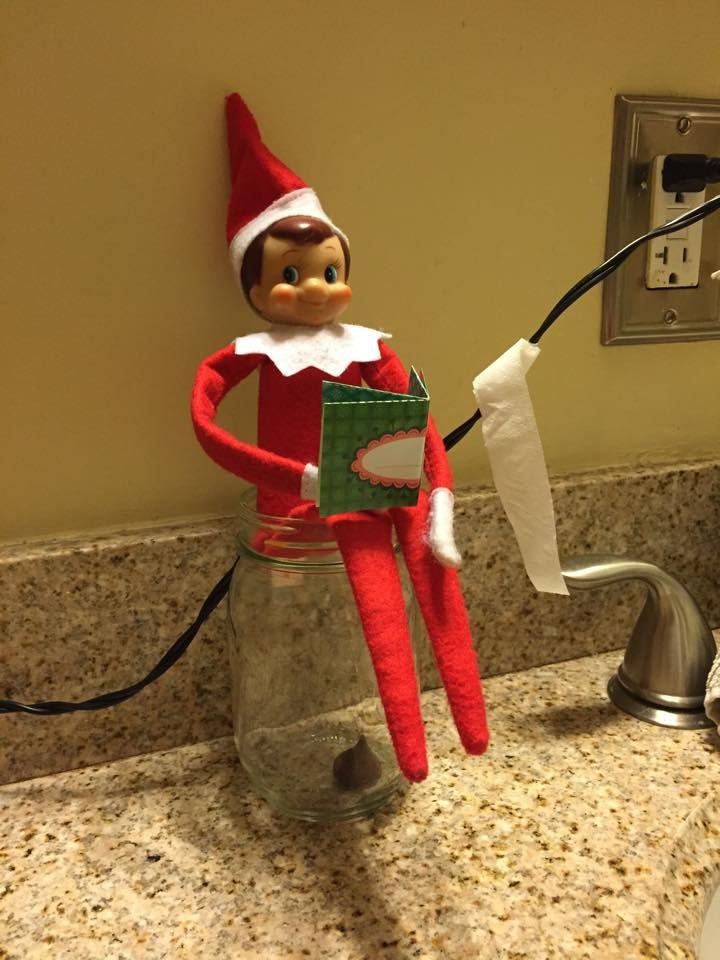 Elf on the Shelf Bathroom ~ A little light reading while doing his business