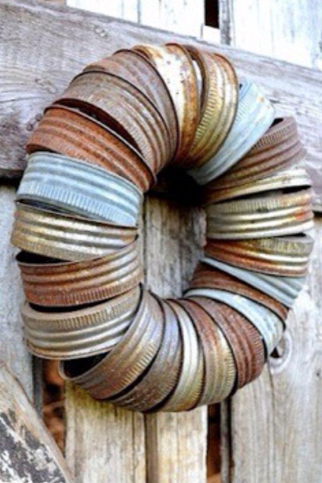 mason jar lid wreath crafty pinterest