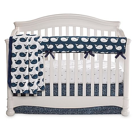 Liz and Roo's Nautical Crib Bedding Collection has a fun ocean theme, with modern prints in crisp white and classic navy. Whales, anchors, and more coordinate to create a fun and fresh look.