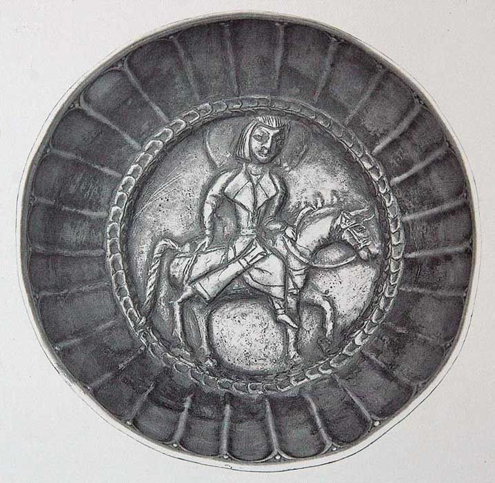 Cup with horseman, Khwarezm c.7th to beggining of the 8th Century