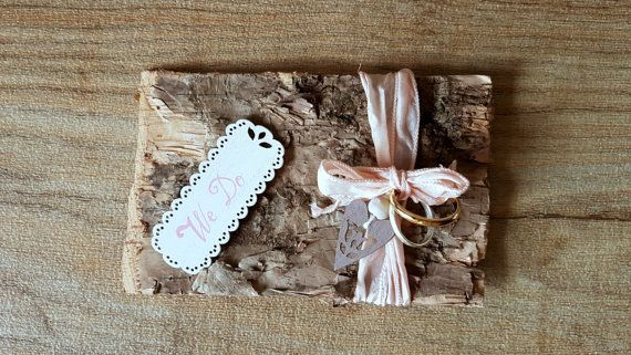 Wooden ring pillow: Rustic birch wedding Woodland ring box