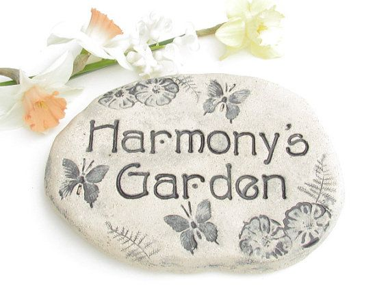 Personalized GARDEN STONES, Personalized sign. Herb garden decor, Gardening gift. Choice of hummingbird, butterflies, dragonflies, more !