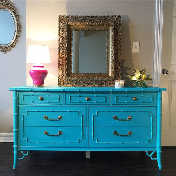 Restored Thomasville dresser. Stamped on the back Thomasville 1973. Finished in a flat, turquoise color and sealed for durability. Original,