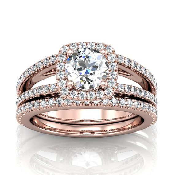 Diamond and Moissanite Halo Rose Gold Engagement Ring with Split Shank