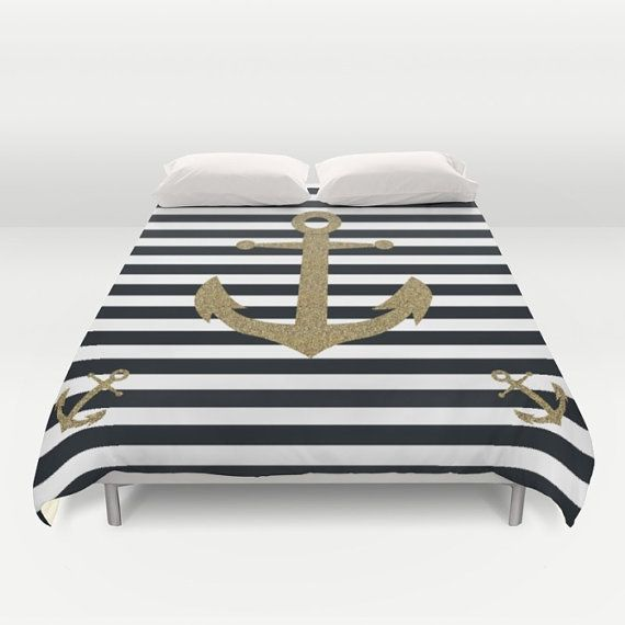 Nautical Duvet Cover - Anchor Duvet Cover - Queen King Full Duvet Cover Duvet Bedding - Striped Black White Coastal Cottage Teenage Bedroom