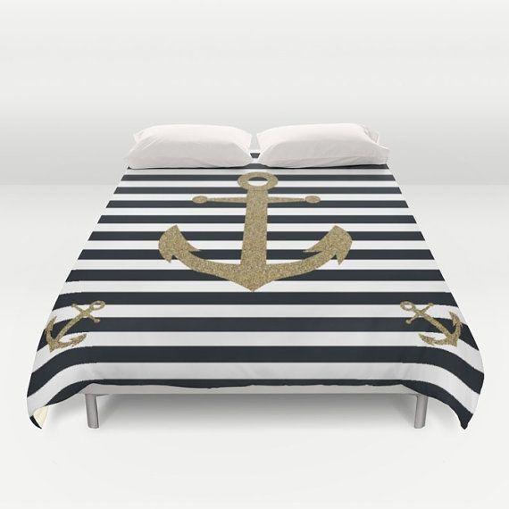 Nautical Duvet Cover - Anchor Duvet Cover - Queen King Full Duvet Cover Duvet Bedding - Striped Black White Coastal Cottage Teenage Bedroom