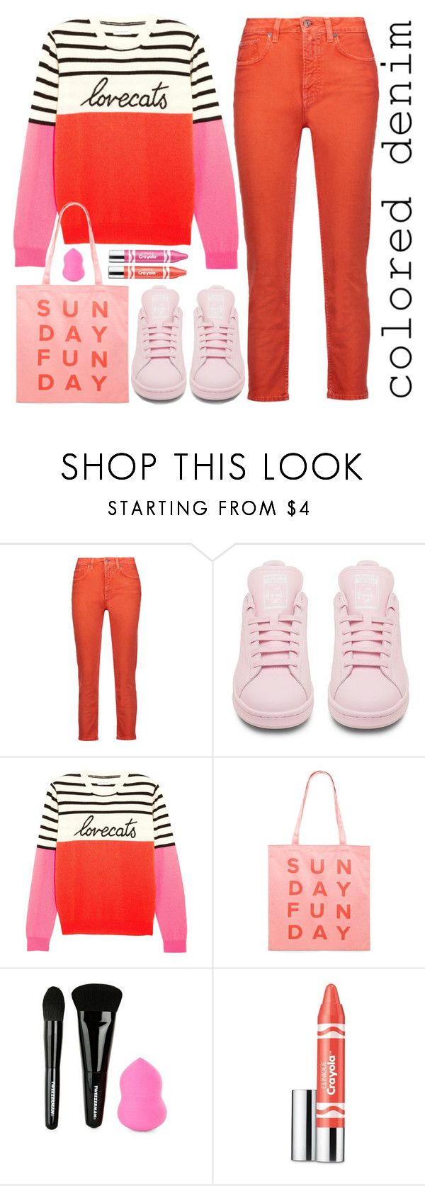 """""""Juice it Up"""" by stavrolga on Polyvore featuring Acne Studios, adidas, Chinti and Parker, Forever 21, Tweezerman, Clinique, coloredjeans, pinkandorange and intarsiasweater"""