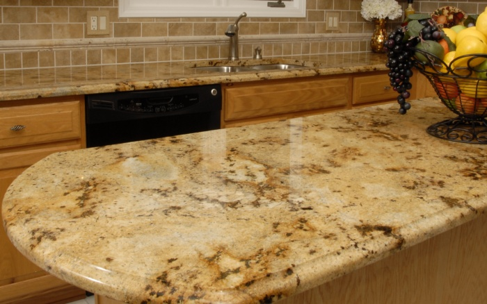 Detailed Island In Macomb Towhsip Kitchen   Birch Frost/Lapidus Granite At  Surface Encounters