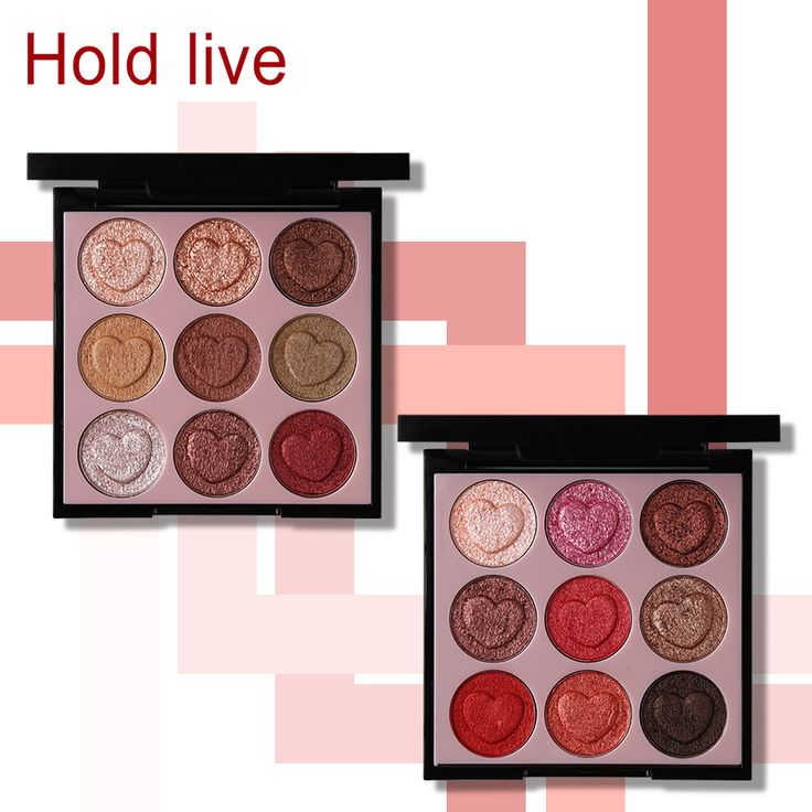 Hold Live 9 Colors Intense Crystal Diamond Cream Eyeshadow Palette Glitter Shimmer Heart Shaped Eye Shadow. Click visit to buy #EyeShadow