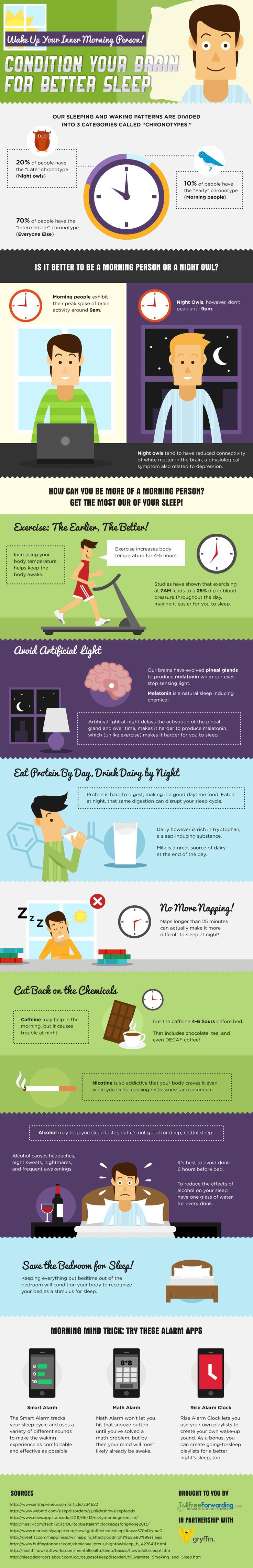 """How to Become More of a Morning Person #Infographic - """"Get moving with exercise - Save the bedroom for snoozing - Eat protein by day, drink dairy by night... """" More Pins on Building routines and habits: http://www.pinterest.com/addfreesources/basic-self-care-building-routines-and-habits/"""