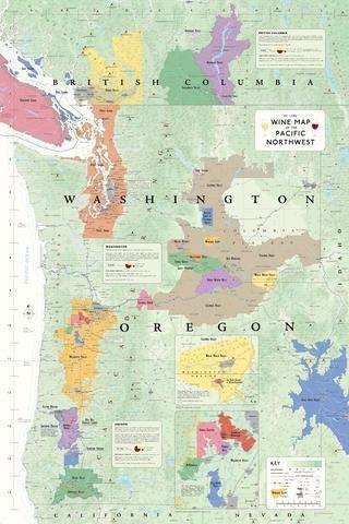 Wine Map of the Pacific Northwest (Oregon, Washington and British Columbia)