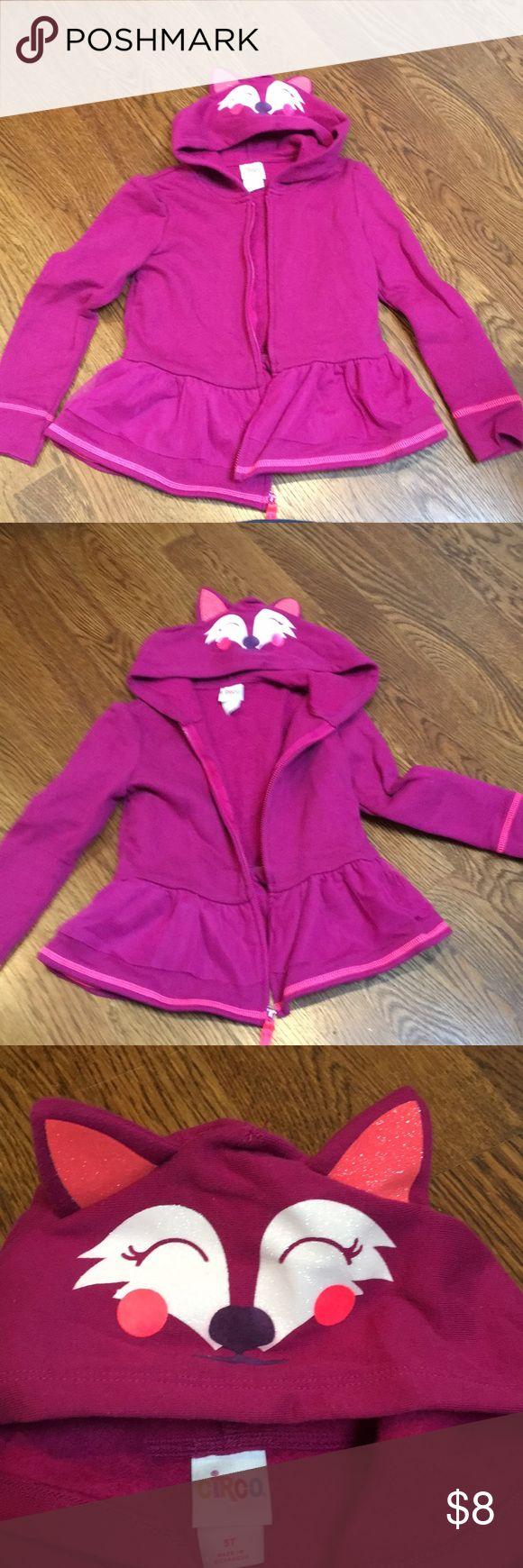 "Circo toddler girls zip-up hoodie w/ ""animal"" hood Cute peplum hoodie with animal print with ears on hood Circo Shirts & Tops Sweatshirts & Hoodies"