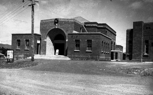 Playhouse Theatre. Photo taken in the 1940's, depicts Playhouse Theatre's previous role as Glen Eden's Town Hall alongside its neighbour, the Glen Eden RSA. Read the history of the Theatre at http://www.playhousetheatre.org.nz/Site/Theatre_History.ashx