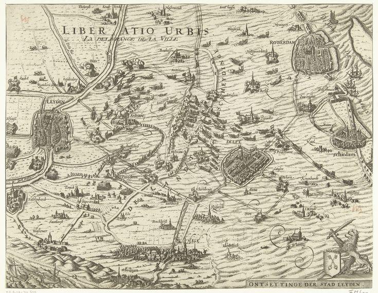 Kaart met het ontzet van Leiden, 1574