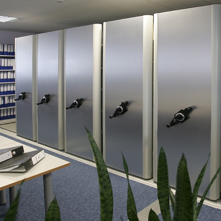 Flexistor is a high-quality, high-density office storage system with tracks for smooth operation and easy archive storage http://www.compactstorage.co.uk/mobile-shelving/flexstor/
