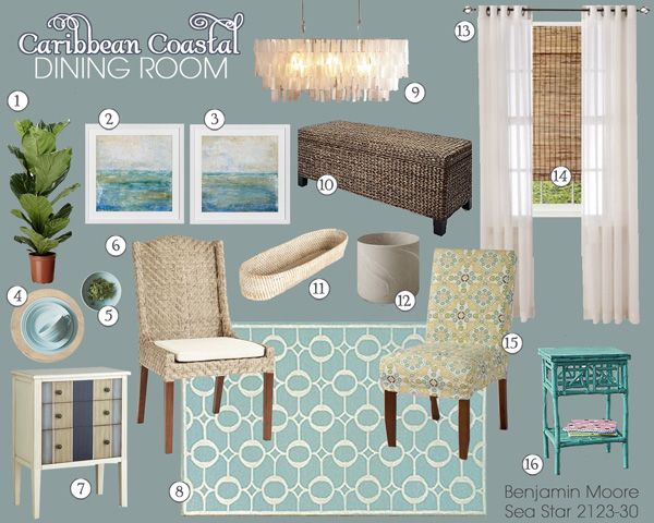 Caribbean Coastal Dining Room Mood Board | Teal and Lime Interiors....YES YES YES