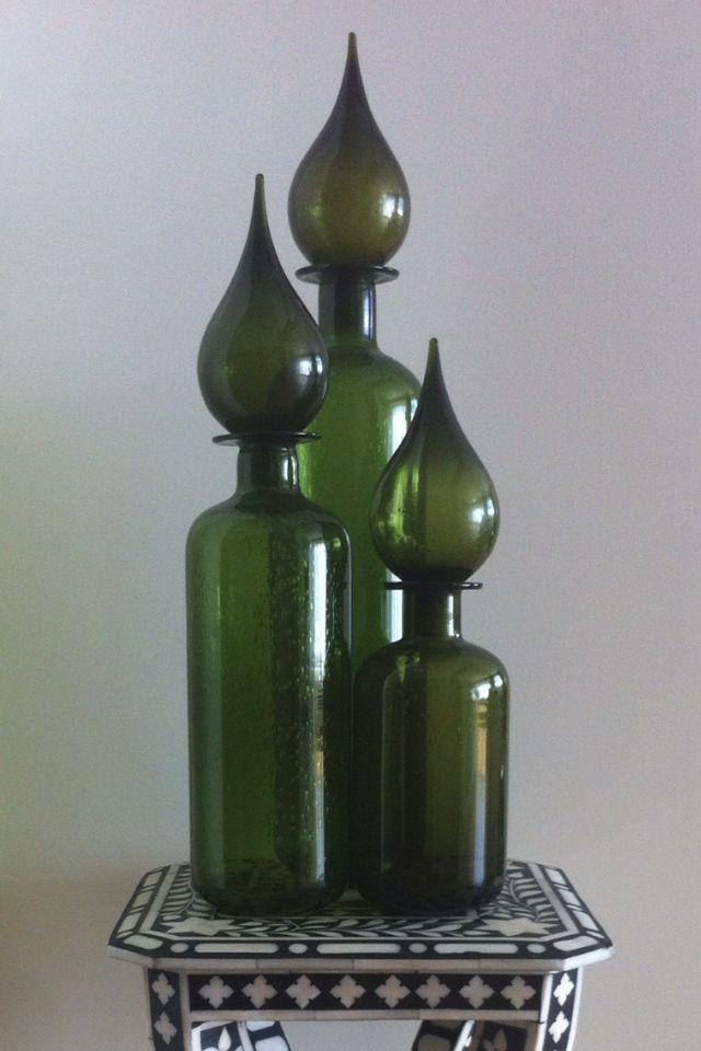 Green glass trio