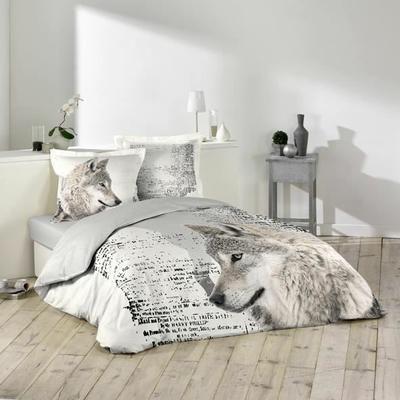 Parure de lit pour 2 personnes - TAIES : 2 taies d'oreillers de 65 x 65 cm - DIMENSIONS : 220 x 240 cm - COMPOSITIONS : 100 % coton , 42 fils par cm² - DOUBLURE : Coloris Gris