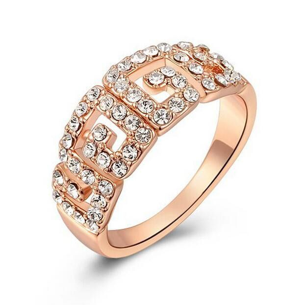 Девушка 2016 розовое золото кристалл женщины Свадьба круглый Кольцо Настоящее Позолоченные Ювелирные Изделия Для Женщин KNE20163
