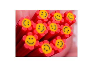 Cane fimo fleur smiley rouge 0€80 http://www.lamalleauxaffaires.fr/1228-cane-fimo-fleur-smiley-rouge.html