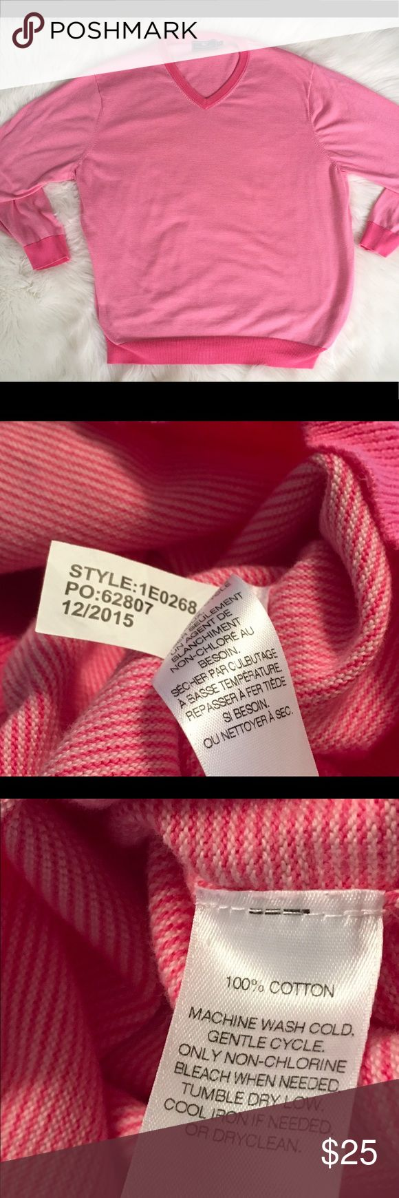 """Vineyard vines Men's 100% Condon Sweater SZ XL Vineyard Vines Men's 100% Cotton Sweater Size XL Extra Large  Pink & White Subtle Stripes Cuffs, Neckline & Hem Pink Arm Pit to Arm Pit 27"""" laying flat  Total Length 30"""" Gently used  Clean and Smoke Free Home Vineyard Vines Sweaters V-Neck"""