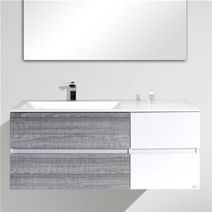 mobile bagno design sospeso moderno 120 cm grigio e bianco con specchio
