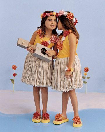 home made girl costume | hula girls costume via martha Homemade Costume Ideas for Halloween