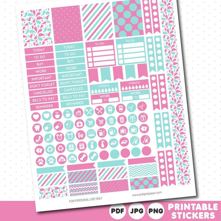 Lollipop pink and light turquoise weekly planner stickers with headers, full…