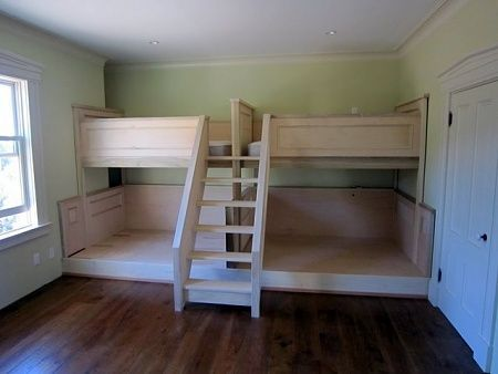 Twin over full built in bunk beds. Love the stairs!                                                                                                                                                      More