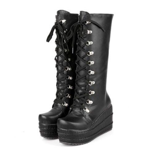 STIVALI ZEPPA PLATFORM SCARPE GOTH PUNK HARAJUKU boots nerobianco VARI MODELLI | eBay
