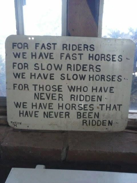 Okay, I can't stop giggling.  I just said something similar to this to someone who thought that just anyone, who's never ridden before, could come over and ride my horses.  Ummm, no...it doesn't work like that!