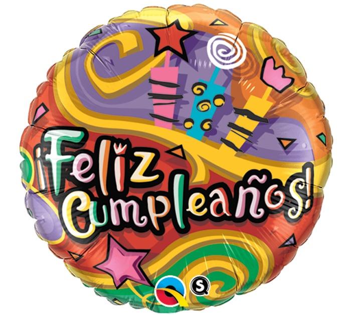 "#burtonandburton 18"" Feliz Cumpleanos Spanish Happy Birthday foil balloon."