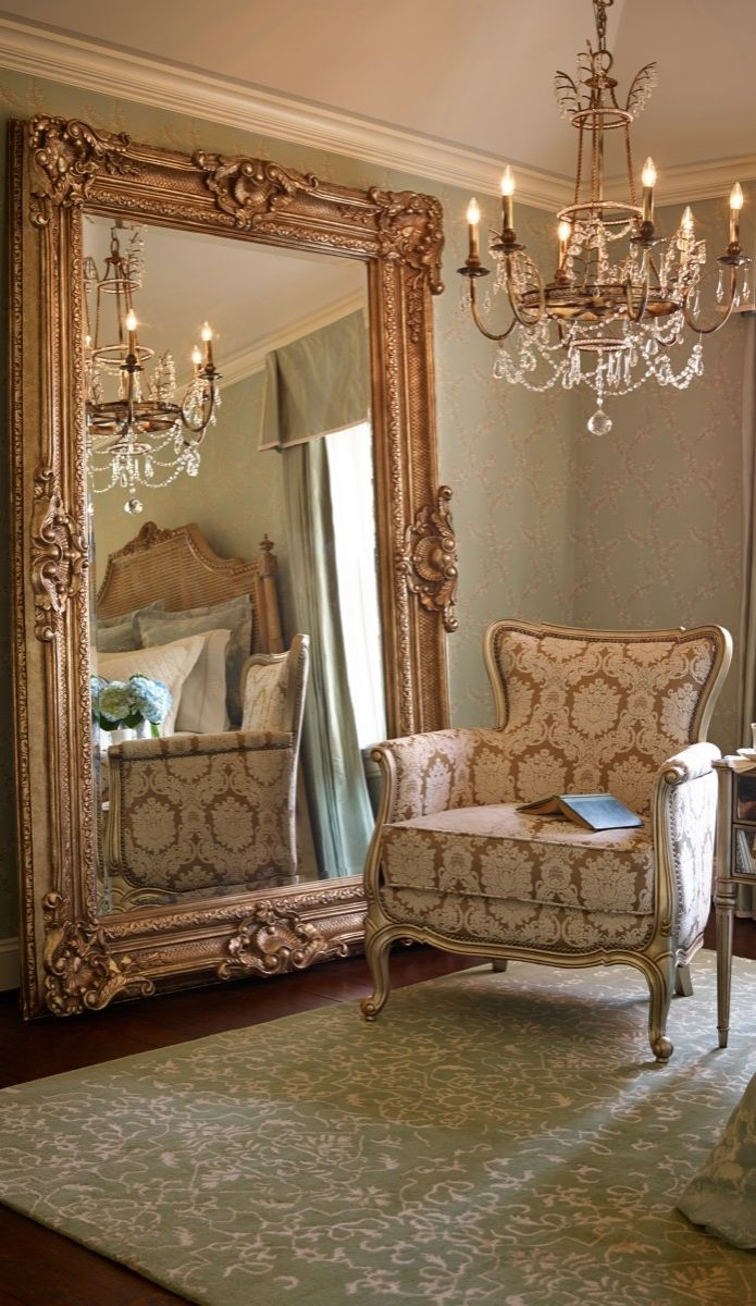 Our grandly scaled josephine floor mirror is an elegant for Fancy mirrors for bedrooms