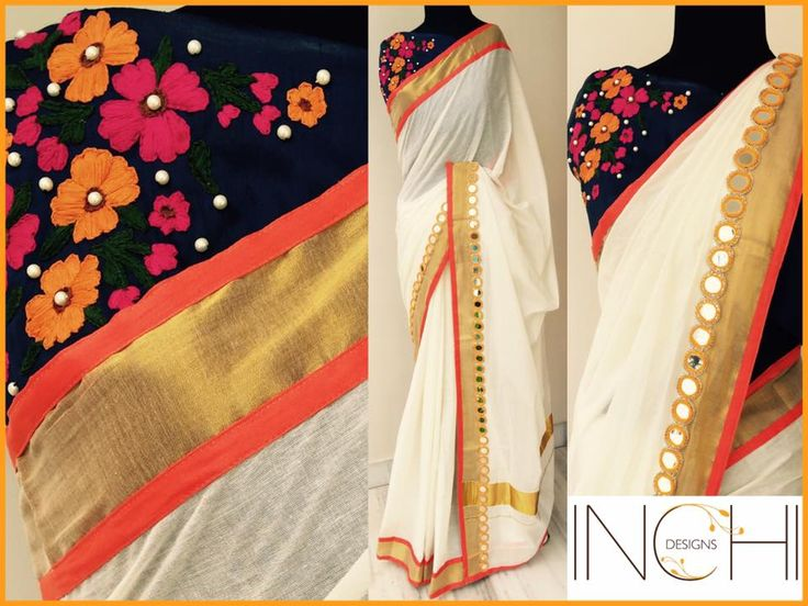 Code: Kerala sari_ Sun shine Price: Rs. 4200Kerala sari with orange real mirror border on one side and orange piping Blouse: Dark blue semi raw silk (1 metre) with floral hand embroidery and pearl work done on one side To purchase this sari  please mail us at inchidesigns@gmail.comOnly one piece available. Once sold  we won t be able to take up custom order for the same. KeralaSari  Sari  OffwhiteSari  DesignerKeralaSari  16 October 2016