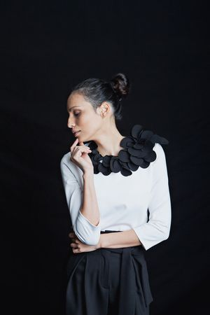 LeDamini Petals Couture Top available in total black ONLINE WWW.LEDAMINI.COM