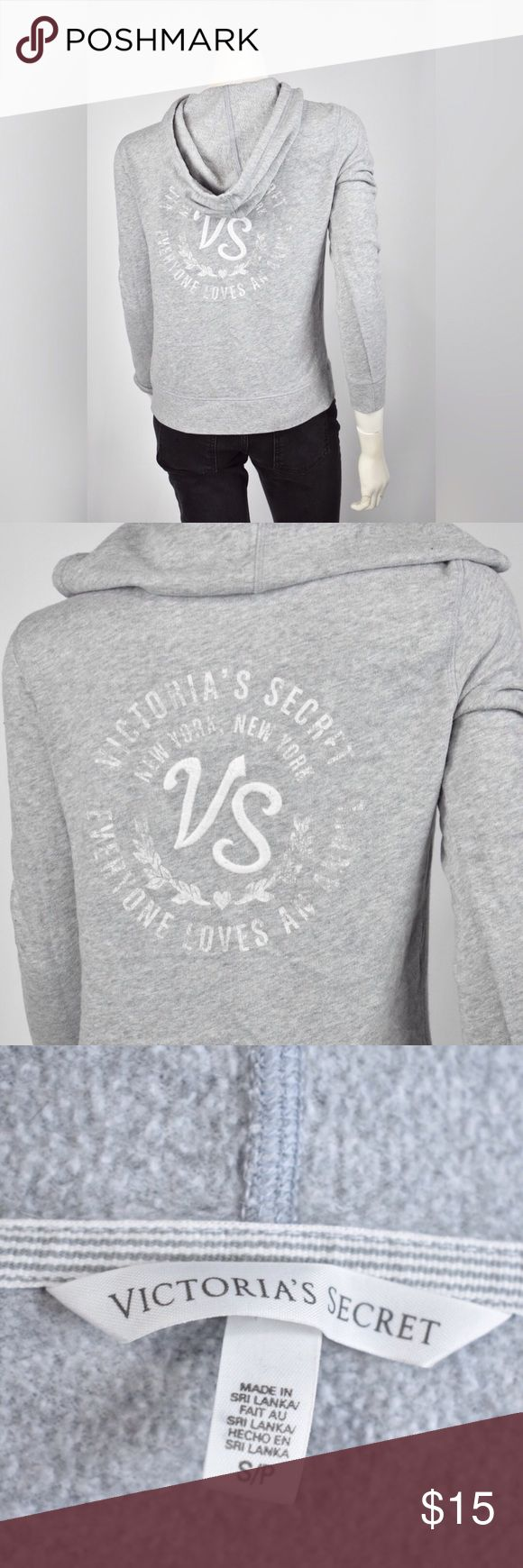 Victoria's Secret Gray Zipper Hoodie small Brand: VS  SIZE: Ladies small Light weight hoodie zip up, light gray  back: Victoria Secret New York New York Everyone loves an angle embroidered  VS Condition: silk screen faded worn away; some loose threading; worn and washed mult. times - still in wearable condition Material:60% cotton 40% poly * Measurements are garment laying flat chest: 18  length: 23..5 Sleeve: 24 Victoria's Secret Tops Sweatshirts & Hoodies