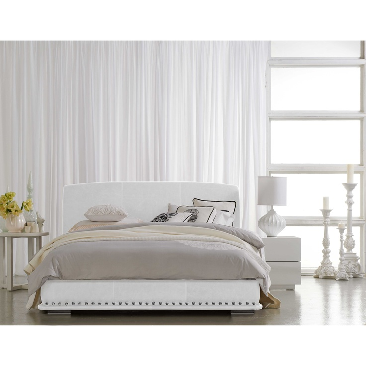 bedroom beds bed frames giove white leather bed