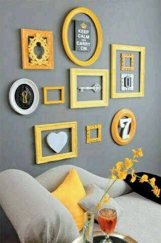Golden Yellow Frame Collage On Grey Wall
