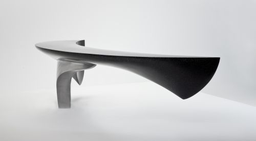 Sculpture: 'Crescent Bench (marble Composite Garden Art Sculptures)' by sculptor Ben Barrell in Abstract Garden Sculptures - Garden Sculptur...