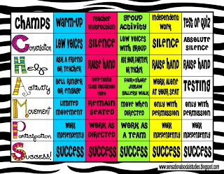 Colorful Champs Poster for classroom management.