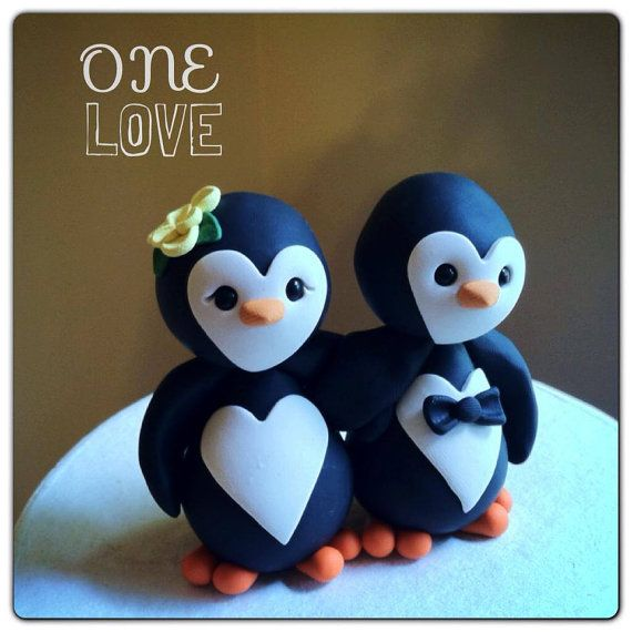 @JamieKavier   Penguin love Wedding Cake Topper by derekwoolever on Etsy, $70.00 omg need this for my wedding