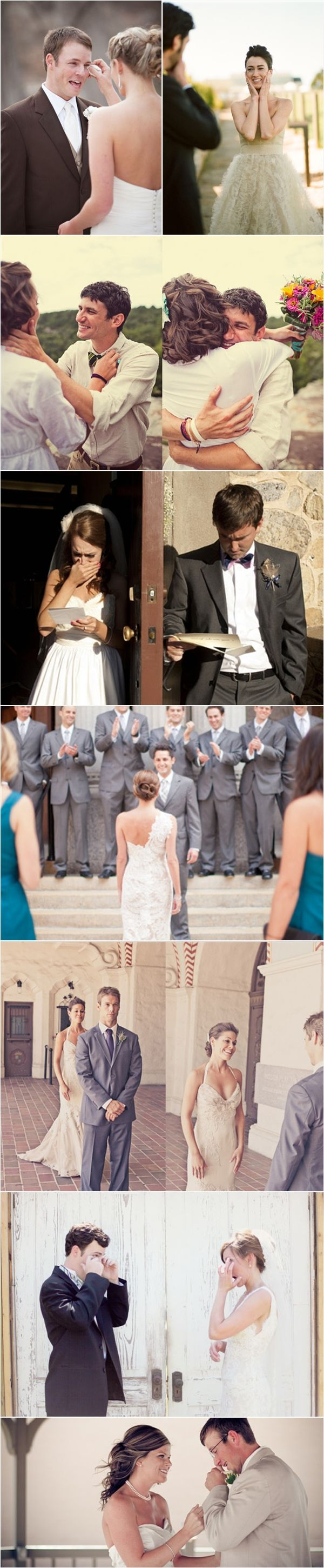 "I am a HUGE fan of setting up the ""pre"" pictures so the bridal party does not miss most of the reception. I adore the love notes on each side of the door, next they can hold hands, then he shuts his eyes as she comes around the door...""'it's just like the movies..."""
