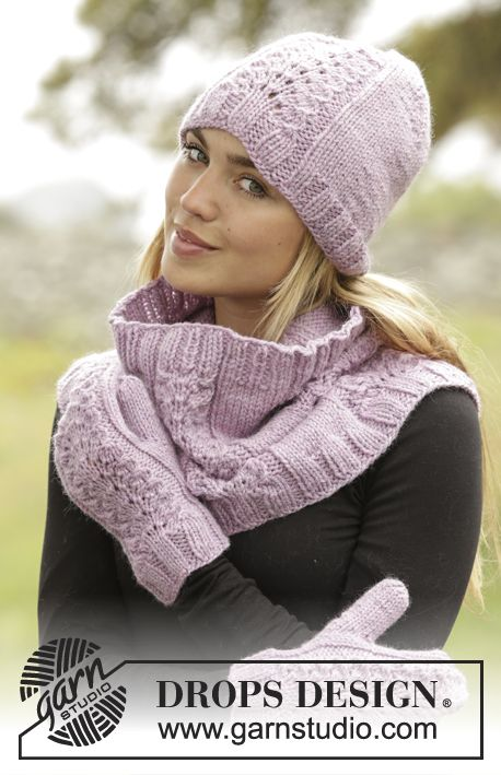 Malin set consisting of hat, cowl and mittens by DROPS Design. Free knitting pattern