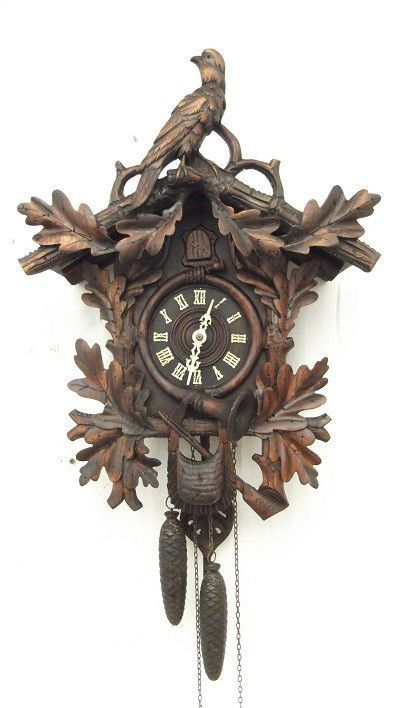 LARGE Antique 1800's hand carved black forest cuckoo clock. runs well. PHS?