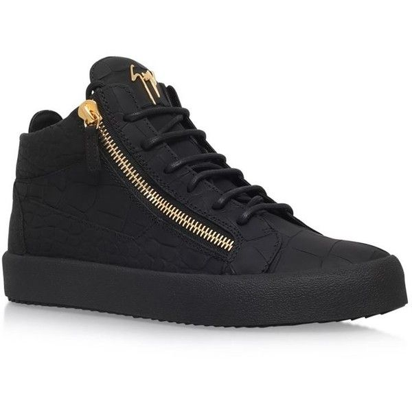 Giuseppe Zanotti Matte Croc-Embossed Sneakers (44.805 RUB) ❤ liked on Polyvore featuring men's fashion, men's shoes, men's sneakers, mens crocodile shoes, crocs mens shoes, mens platform sneakers, mens black leather high top sneakers and mens high top shoes
