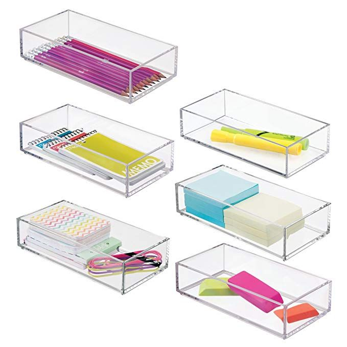 Mdesign Stackable Small Plastic Desk Drawers Organizer Trays For Highlighters Pens Pencils Pack Organized Desk Drawers Desk With Drawers Drawer Organizers